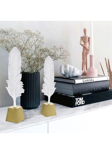 The Mia Dekor Kaideli Kuş Tüyü Beyaz & Gold - 40 Cm Beyaz